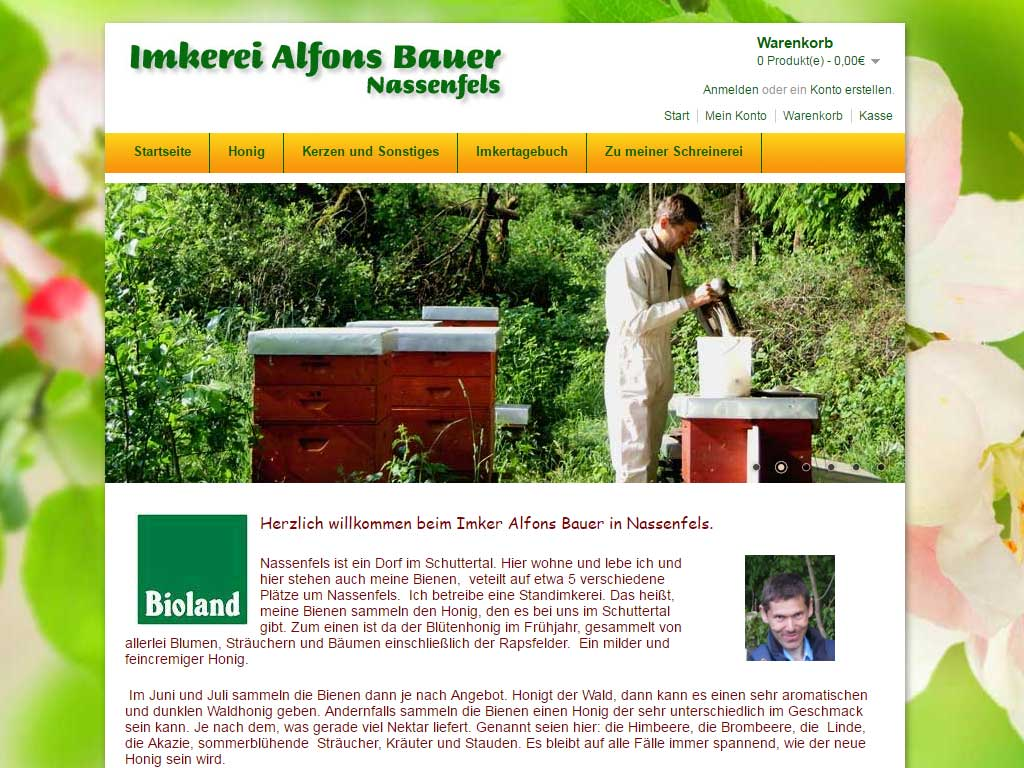 Screenshot vom Webdesign des Onlineshop Imkerei Bauer in Nassenfels