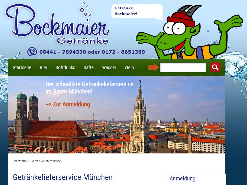 Screenshot vom Webdesign des Webshops Bockmaier in Suenzhausen